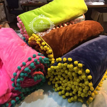 Korean version of the ball solid color with a zipper with hair fall winter blanket quilt quilt single double double thick warm blanket