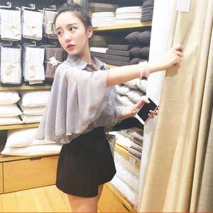 春夏韩版蝙蝠袖衬衫七分袖上衣薄款雪纺衫打底吊带短背心两件套女雪纺开衫