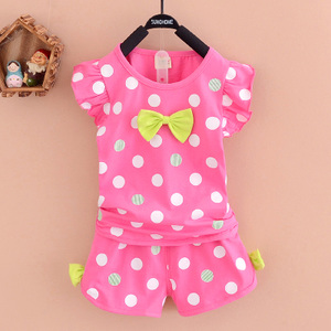 1-3岁女宝宝夏装套装女童短袖短裤两件套甜美波点儿童装夏季衣服童装
