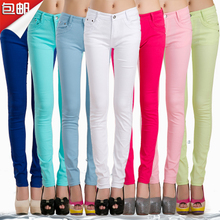 Long candy color stretch small leg casual jeans