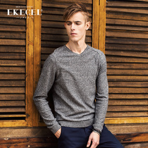 Ekecel thin section v neck pullovers Korean version of the slim sweater