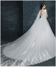 New style of gauze wedding dress, Korean style large tail shawl, soft lace, lace, long bridal wedding accessories, custom made.