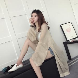 防晒衣外套女春装2017新款潮宽松薄款中长款针织衫开衫空调衫夏季空调衫