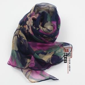 女士薄款经典豹纹围巾 100%桑蚕丝真丝丝巾长巾披肩特大超长 多色女士围巾