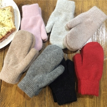 Winter fashion pure color thickening warm gloves, wool blended knitted men's gloves, student riding tide.