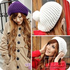 [Q3015] 韩版秋冬 可爱双层毛线帽子 女  网眼带球针织贝雷帽