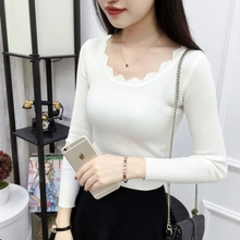 New round neck and all-around lace knitting bottoming shirt