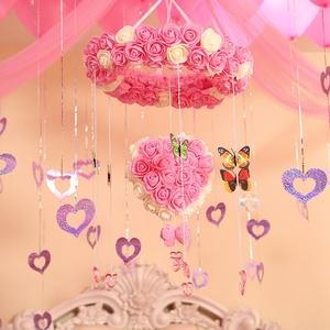 婚房布置创意装饰结婚纱幔拉花套餐卧室新房花球挂饰浪漫婚庆用品纱缦